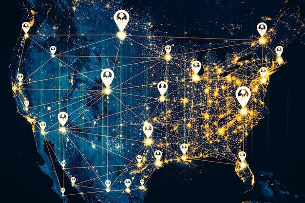 Usa people netzwerk und nationale verbindung in innovativer wahrnehmung