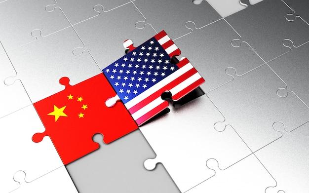 Usa- und china-flaggen auf puzzleteilen.