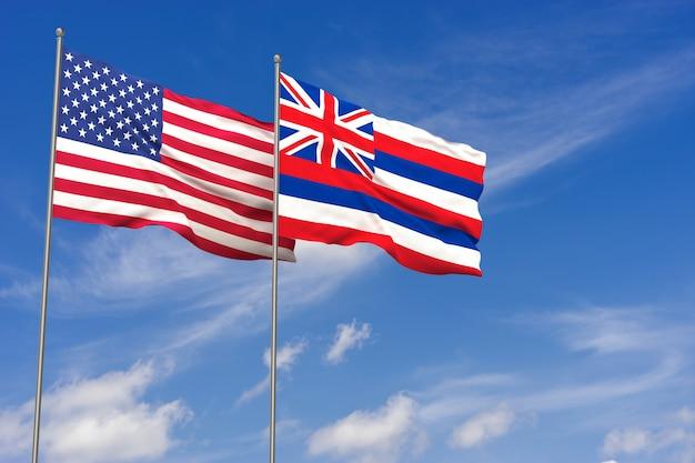 Usa und hawaii-flaggen über hintergrund des blauen himmels. 3d-darstellung