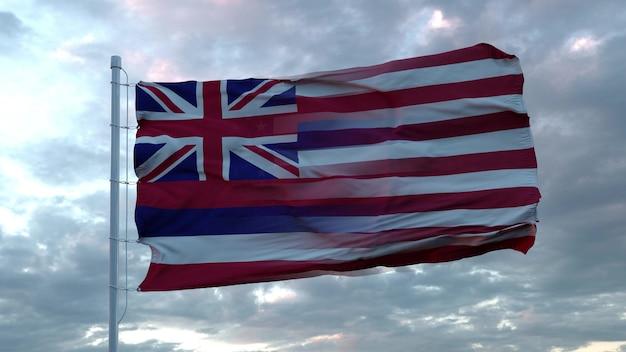 Usa und hawaii gemischte flagge weht im wind