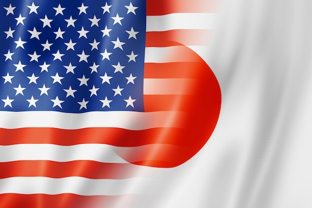 Usa und japan flagge