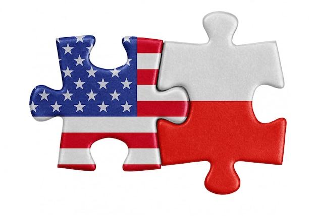 Usa und polen puzzle aus flaggen.