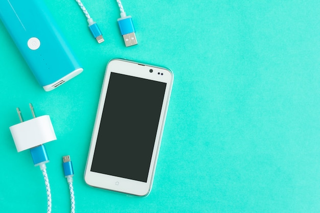 Usb-ladekabel für smartphone und tablet in der draufsicht