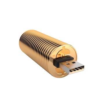 Usb-stick gold isoliert auf weißem hintergrund.