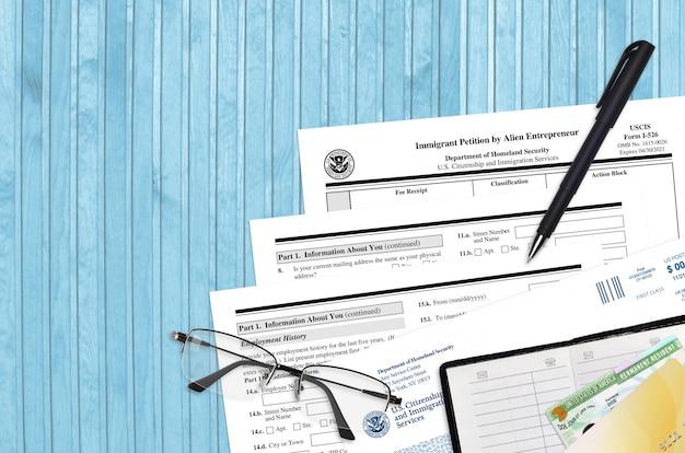 Uscis-formular i-586 einwanderungsgesuch von alien entrepreneur