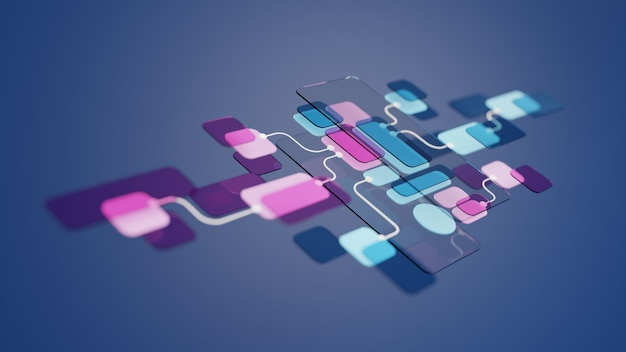 Ux ui-flussdiagramm-anwendungsentwicklungsprototypdesign. benutzererfahrungskonzept.