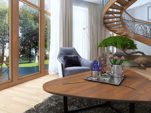V entwerfen sie einen niedrigen couchtisch aus holz mit dekor und blumen im wohnzimmer in einem modernen stil