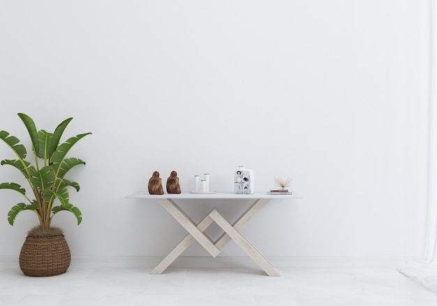 V-form tisch mit weißer wand