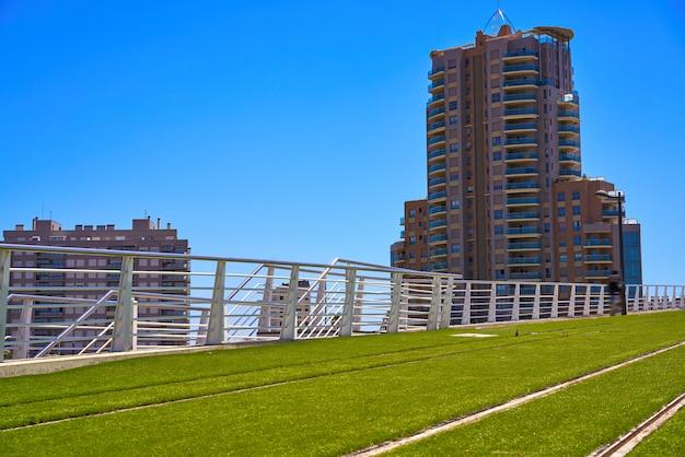 Valencia-zugeisenbahn und gras spanien