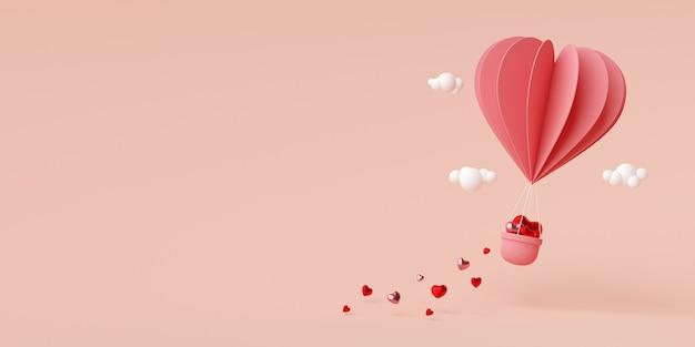 Valentine banner hintergrund des herzform ballons in der luft 3d rendering