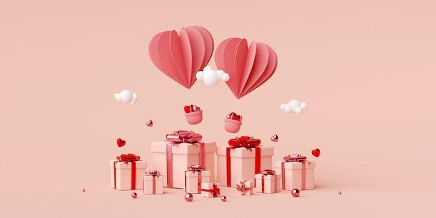 Valentine banner hintergrund des herzform ballons mit geschenkbox 3d rendering