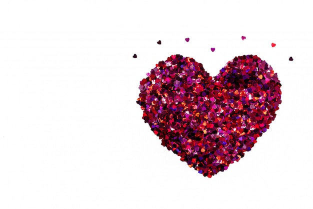 Valentine day-konzept, weißer hintergrund mit roten herzen des funkelns