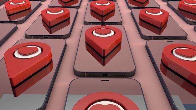 Valentines concept auf smartphone und rotem zeigerherz