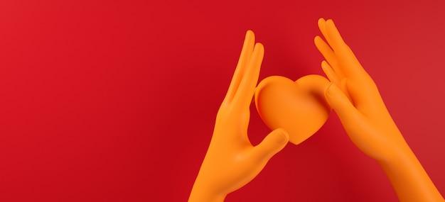Valentinsgrußtageshand, die wiedergabe der illustration des herzhintergrundmusters 3d hält. fett rote farbe flach zu legen. lieben sie grußkarte, plakat, fahnenschablone für partei