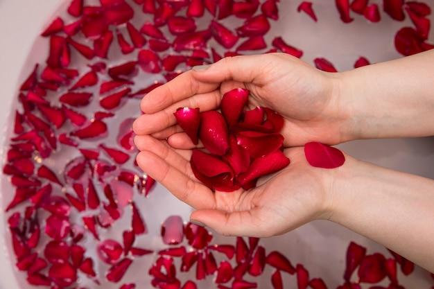 Valentinsgrußtagesüberraschung, nahe hohe frau, die rote rosafarbene blumenblätter in den händen hält