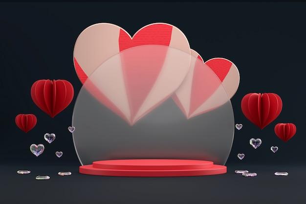 Valentinstag-bühnenpodestplattform mit herzdekoration für produktschaufenster 3d rendern