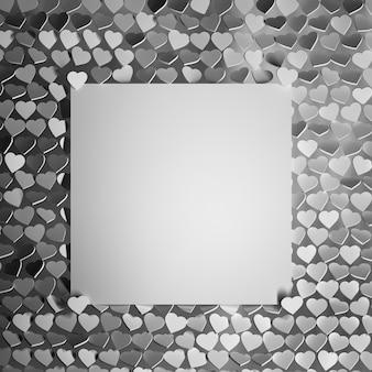 Valentinstag-grußkarte mit vielen herzen und leerer karte für text im grauen weiß und im schwarzen