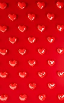 Valentinstag herzen hintergrundmuster. fett rote farbe flach zu legen. lieben sie feiergrußkarte, plakat, fahnenschablone für partei