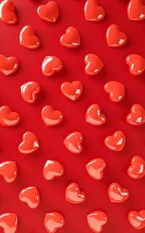 Valentinstag herzen hintergrundmuster. fett rote farbe flach zu legen. lieben sie feiergrußkarte, plakat, fahnenschablone für wiedergabeillustration der partei 3d