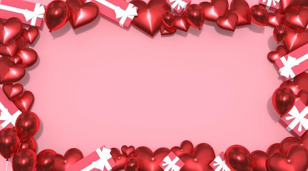 Valentinstag hintergrund, mit ballon geschenkbox, draufsicht free photo