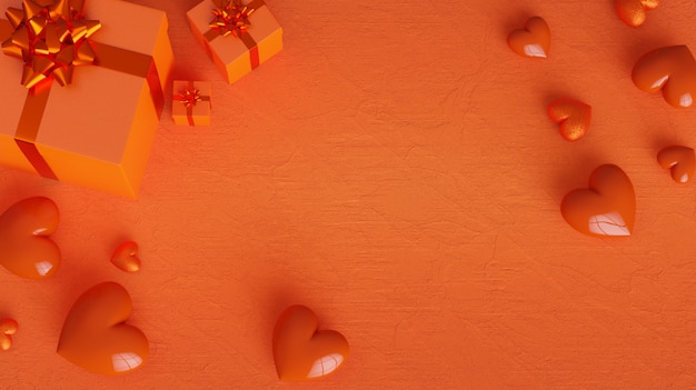 Valentinstag hintergrund mit orange herzen und geschenkboxen