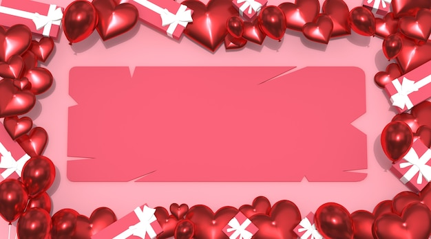 Valentinstag hintergrund, valentinstag karte mit ballon geschenkbox, draufsicht free photo