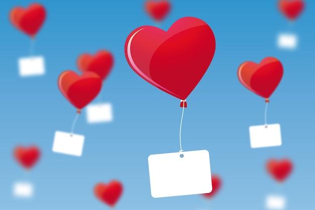 Valentinstag hintergrunddesign mit herzballons und leeren tags