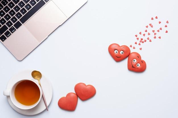 Valentinstag komposition, flaches design