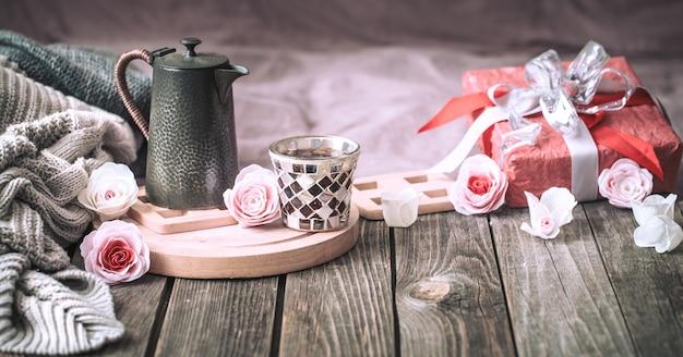 Valentinstag konzept, festliches stillleben