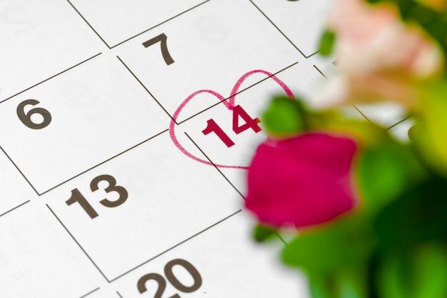 Valentinstag-konzept. frische blumen mit der nummer 14