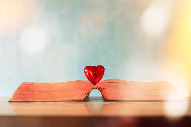 Valentinstag-konzept. herz des buches grußkarten.