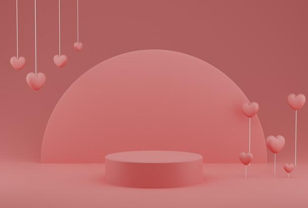 Valentinstag-konzept, rosa herzballons mit sockel
