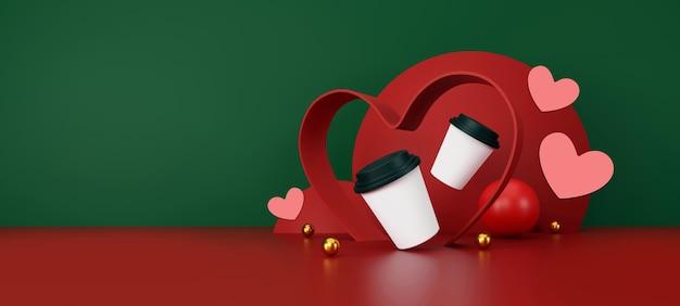 Valentinstag konzept weiße tasse kaffee auf grünem und rotem hintergrund 3d-darstellung