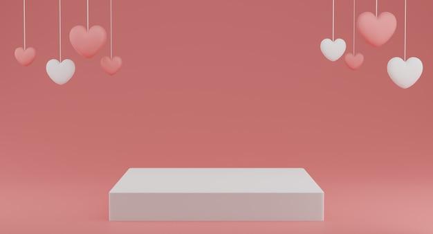 Valentinstag-konzept, weiße und rosa herzballons