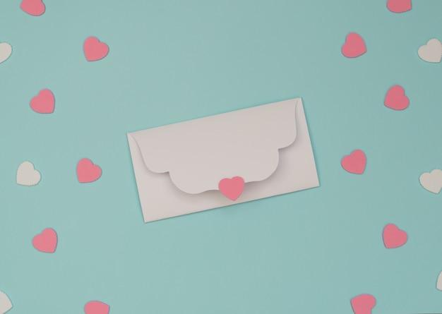 Valentinstag-konzept, weißer umschlag und rosa und weiße herzen. valentinstag grußkarte. flacher laienstil.
