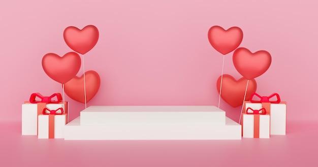 Valentinstag podium für ein produkt mit einem herzen 3 d rendering.