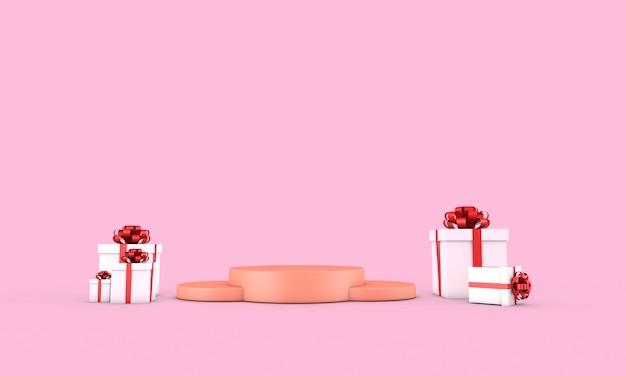 Valentinstag-podium für produktplatzierung mit 3d-rendering-dekorationen