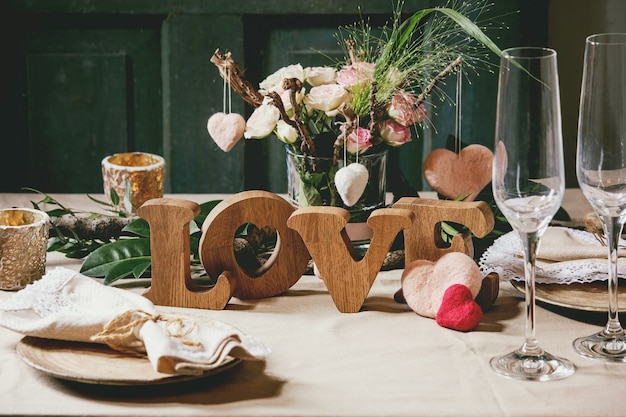 Valentinstag tabelleneinstellung
