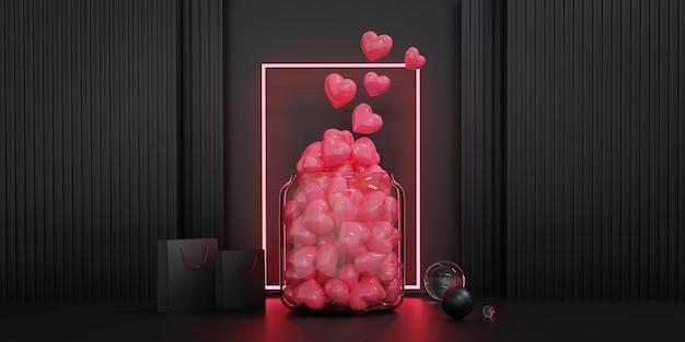 Valentinstag vitrine dekorieren. konzept für valentinstag und hochzeitshintergrund. 3d-rendering.