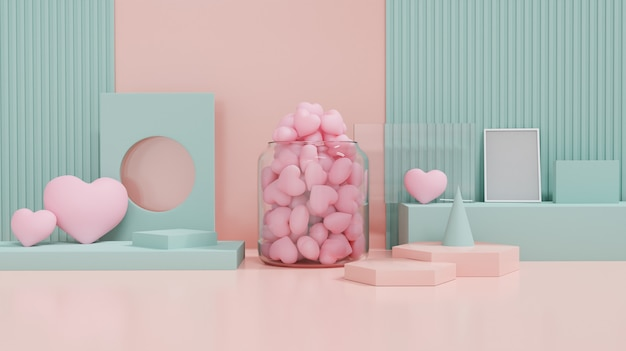 Valentinstag vitrine mit liebe und geometrie design form dekorieren. konzept für valentinstag und hochzeitshintergrund. 3d-rendering.