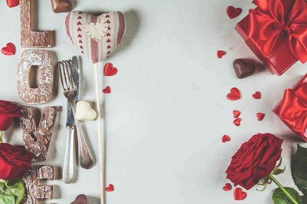 Valentinstaghintergrund, ebenenlage, draufsicht