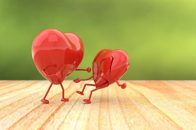 Valentinstaghintergrund mit dem konzept des defekten herzens.