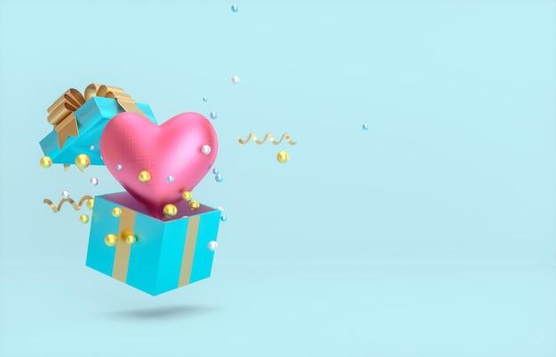 Valentinstaghintergrund mit herzform in einer geschenkbox. 3d rendern.