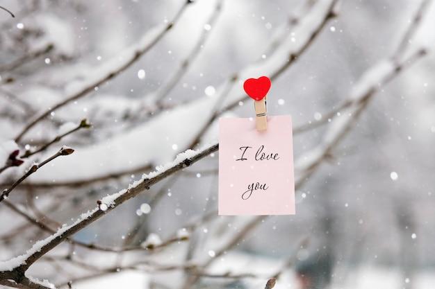 Valentinstagkonzept: wintertag und mitteilung ich liebe dich auf einem baum, der mit schnee bedeckt wird