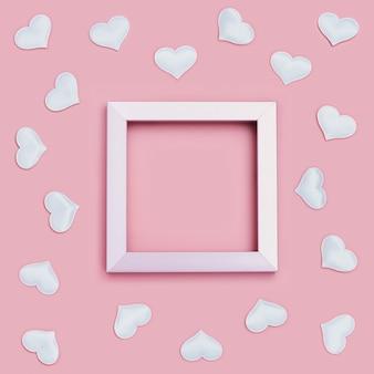 Valentinstagrahmen mit weißen herzen herum auf rosa. grußkarte oder einladung für hochzeitskarten.