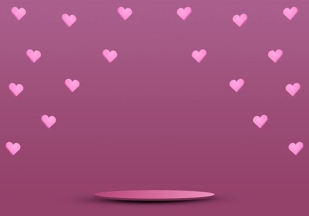 Valentinstagskonzept, podium für produkte mit herzen 3d