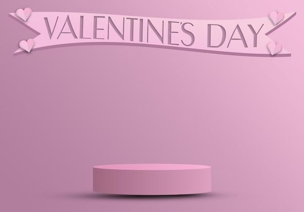 Valentinstagskonzept, podium für produkte mit herzen und band 3d