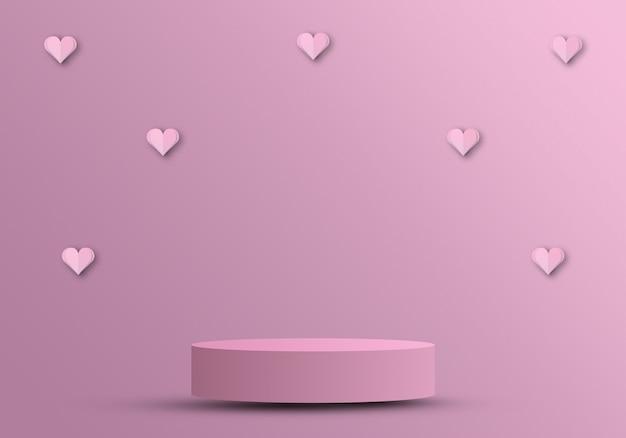 Valentinstagskonzept, podium für produkte mit papierschnittherzen 3d