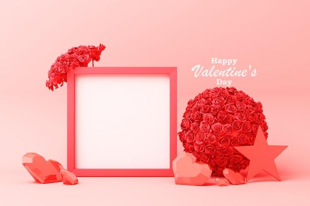 Valentinstagzusammensetzung mit dem roten und rosa herzstern stieg mit wiedergabe des fotorahmens 3d des weißen quadrats