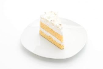 Vanillekuchen auf weißem Hintergrund